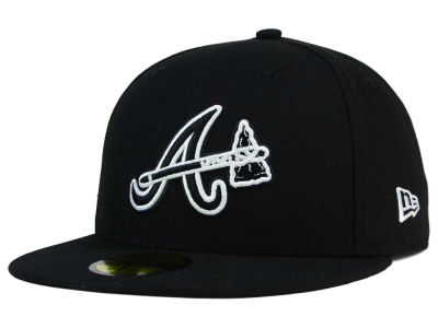 Atlanta Braves New Era MLB Black and White Fashion 59FIFTY Cap