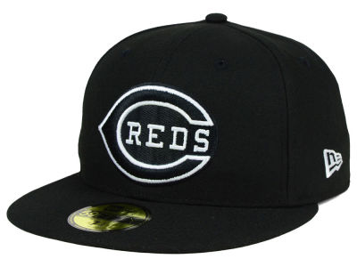 Cincinnati Reds New Era MLB Black and White Fashion 59FIFTY Cap