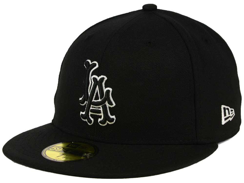 Los Angeles Angels New Era MLB Black and White Fashion 59FIFTY Cap ... 683722c4ac6d