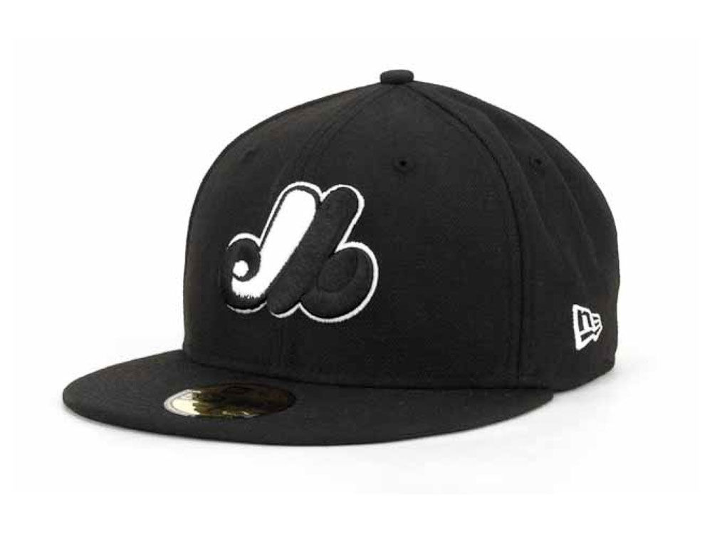 cb30e8d6e46 Montreal Expos New Era MLB Black and White Fashion 59FIFTY Cap