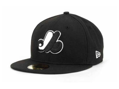 Montreal Expos New Era MLB Black and White Fashion 59FIFTY Cap