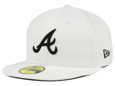 Atlanta Braves New Era MLB White And Black 59FIFTY Cap