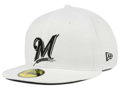 Milwaukee Brewers New Era MLB White And Black 59FIFTY Cap