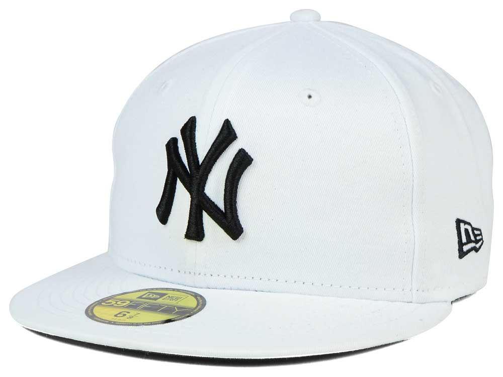 sports shoes 97eea 475e3 New York Yankees New Era MLB White And Black 59FIFTY Cap   lids.com