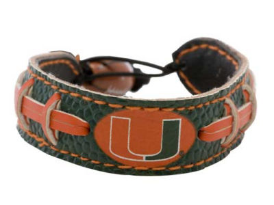 Miami Hurricanes Team Color Football Bracelet