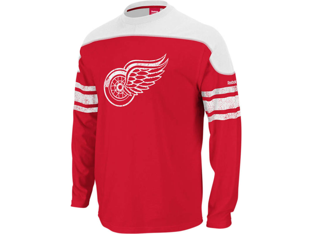 5fd02082 Detroit Red Wings Reebok NHL Shootout Long Sleeve T-Shirt