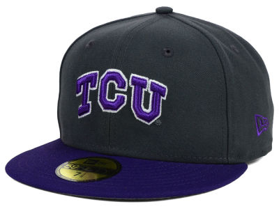 Texas Christian Horned Frogs New Era NCAA 2 Tone Graphite and Team Color 59FIFTY Cap