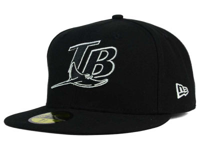 Tampa Bay Rays New Era MLB Black and White Fashion 59FIFTY Cap