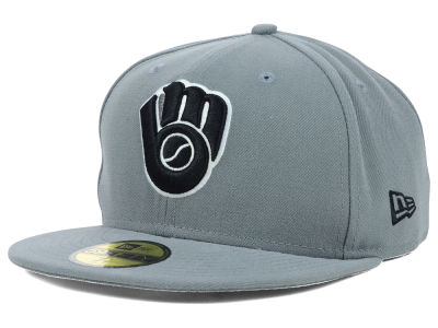 Milwaukee Brewers New Era MLB Gray BW 59FIFTY Cap