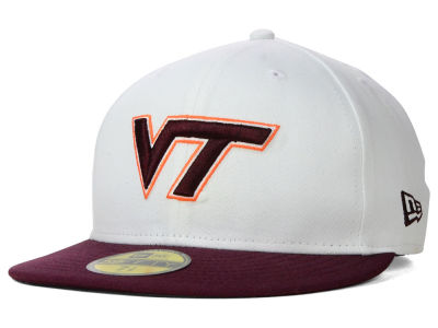 Virginia Tech Hokies New Era NCAA White 2 Tone 59FIFTY Cap