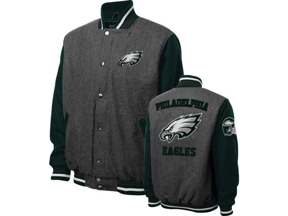 Women S Philadelphia Eagles Jh Design Charcoal Embroidered Logo Poly Twill Jacket