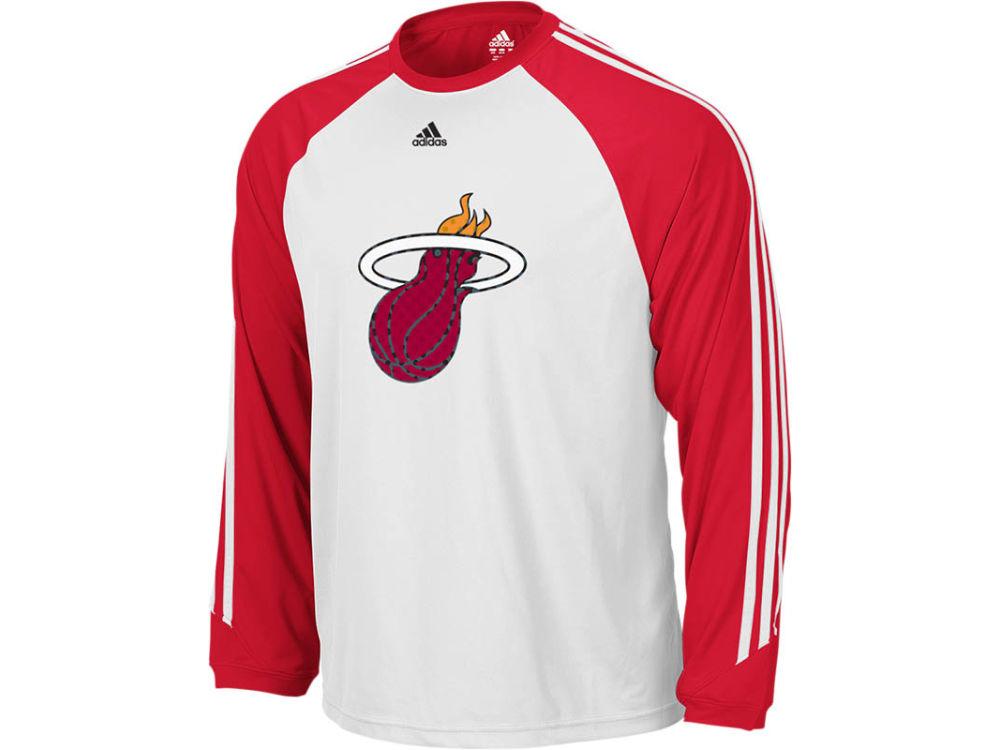 new arrival e91f5 ffbd7 Miami Heat adidas NBA Long Sleeve Smoke Screen T-Shirt