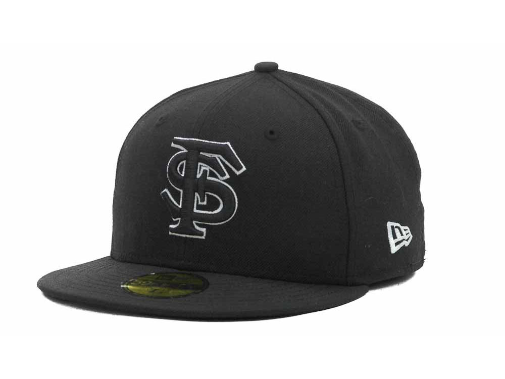 Florida State Seminoles New Era NCAA Black on Black with White 59FIFTY Cap   60a11922dd96