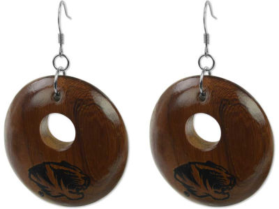 Missouri Tigers Round Wood Earrings