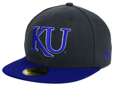 Kansas Jayhawks New Era NCAA 2 Tone Graphite and Team Color 59FIFTY Cap