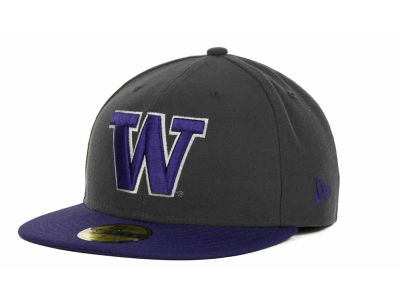 Washington Huskies New Era NCAA 2 Tone Graphite and Team Color 59FIFTY Cap