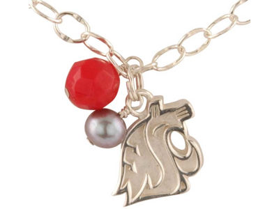 Washington State Cougars Silver Color Dangle Bracelet