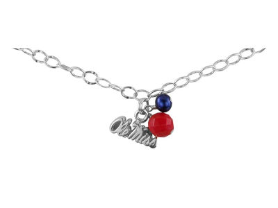Ole Miss Rebels Silver Color Dangle Bracelet