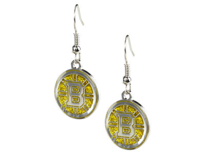 Boston Bruins Glitter Dangle Earrings Aminco
