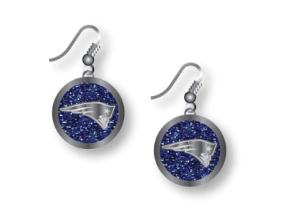 New England Patriots Glitter Dangle Earrings Aminco