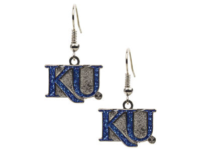 Kansas Jayhawks Glitter Dangle Earrings Aminco