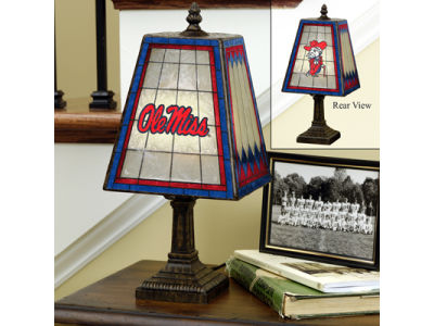 Ole Miss Rebels Art Glass Table Lamp