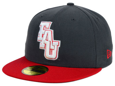 Florida Atlantic Owls New Era NCAA 2 Tone Graphite and Team Color 59FIFTY Cap
