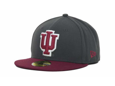 Indiana Hoosiers New Era NCAA 2 Tone Graphite and Team Color 59FIFTY Cap