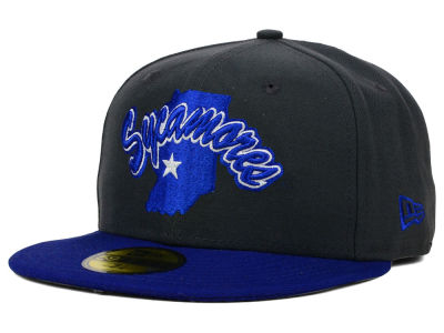 Indiana State Sycamores New Era NCAA 2 Tone Graphite and Team Color 59FIFTY Cap