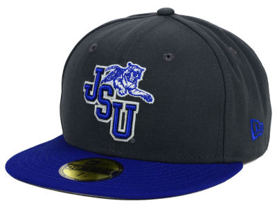 Jackson State Tigers New Era NCAA 2 Tone Graphite and Team Color 59FIFTY Cap