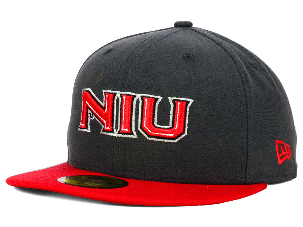 Northern Illinois Huskies New Era NCAA 2 Tone Graphite and Team Color 59FIFTY  Cap  ddb6fbd92f76