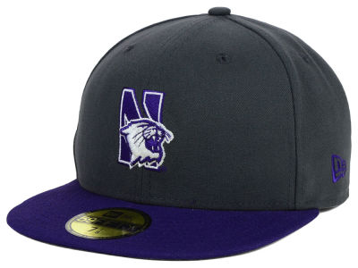 Northwestern Wildcats New Era NCAA 2 Tone Graphite and Team Color 59FIFTY Cap
