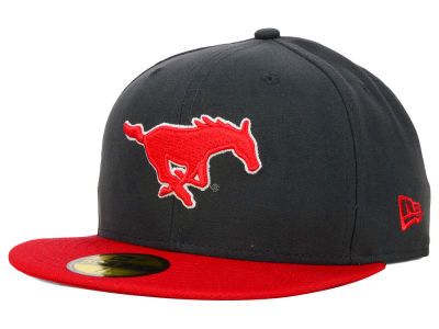 Southern Methodist Mustangs New Era NCAA 2 Tone Graphite and Team Color 59FIFTY Cap