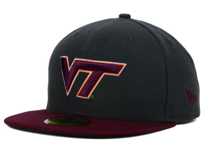 Virginia Tech Hokies New Era NCAA 2 Tone Graphite and Team Color 59FIFTY Cap