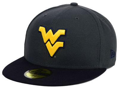 West Virginia Mountaineers New Era NCAA 2 Tone Graphite and Team Color 59FIFTY Cap