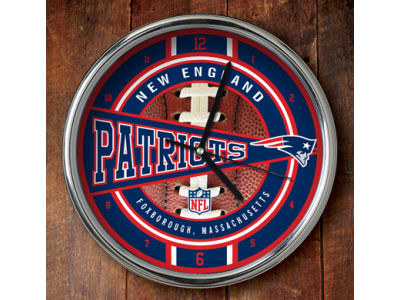 New England Patriots Chrome Clock
