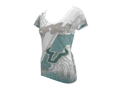 South Florida Bulls Blue 84 NCAA Womens Shifty Sub V-Pocket T-Shirt