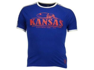 Kansas Jayhawks adidas NCAA Halfway Around 3-Stripe T-Shirt