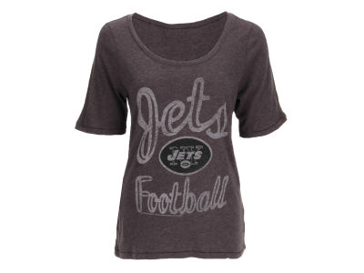 New York Jets NFL Womens Black Wash Junior T-Shirt