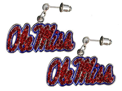 Ole Miss Rebels Crystal Logo Earrings