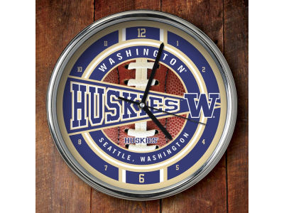Washington Huskies Chrome Clock