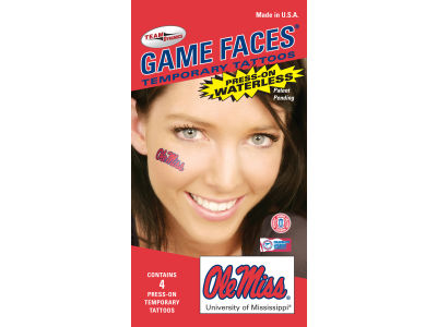 Ole Miss Rebels Waterless Game Face Tattoo