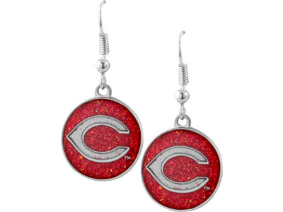 Cincinnati Reds Glitter Dangle Earrings Aminco