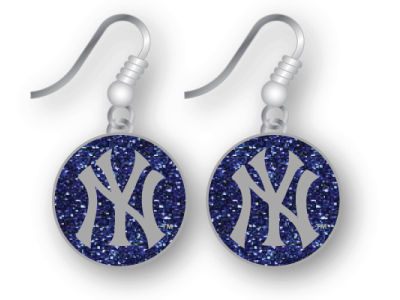 New York Yankees Glitter Dangle Earrings Aminco