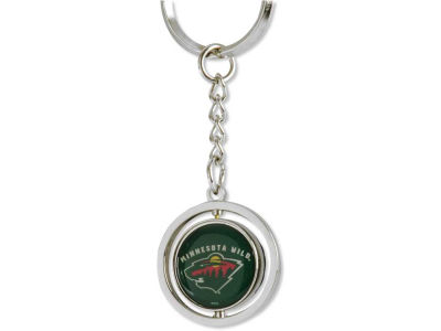 Minnesota Wild Rubber Puck Spinning Key Ring