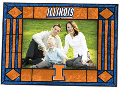 Illinois Fighting Illini Art Glass Picture Frame
