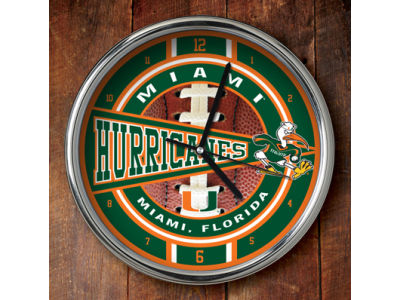Miami Hurricanes Chrome Clock