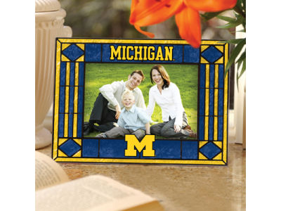 Michigan Wolverines Art Glass Picture Frame