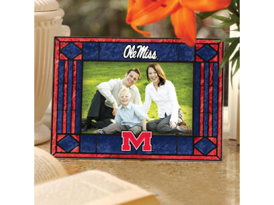 Ole Miss Rebels Art Glass Picture Frame