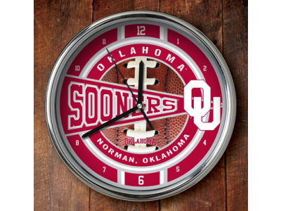 Oklahoma Sooners Chrome Clock